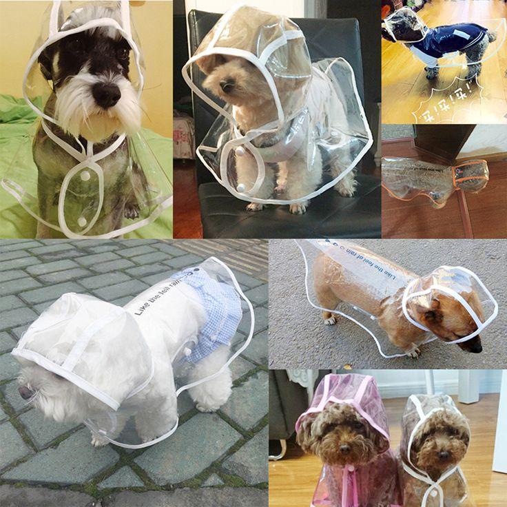 White Pet Dog Puppy Rain Coat Clothes Hooded Waterproof Jacket Rainwear XS--XL
