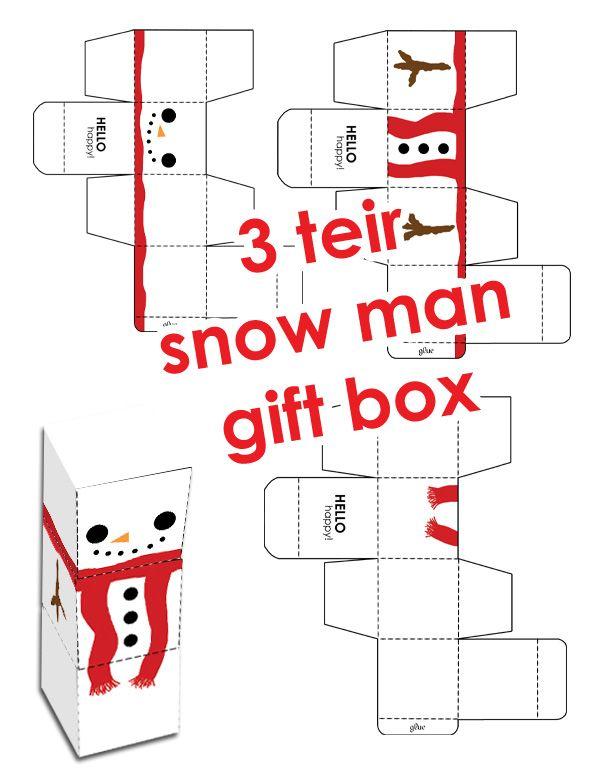 {Patron} Un bonhomme de neige formé de trois boites empilées: succès assuré auprès des petits! Maman-c-bo