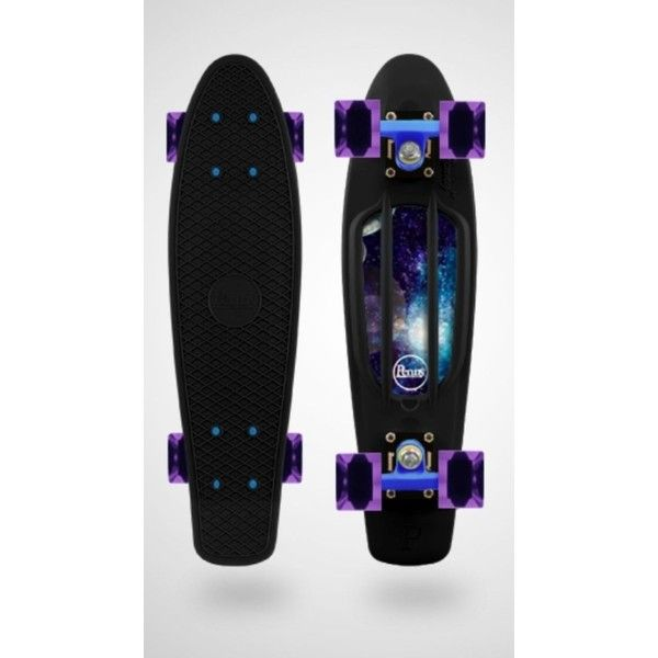 Galaxy custom penny board ️ Skater girl ❤ liked on Polyvore featuring skateboards, accessories, other, penny boards, boards and fillers