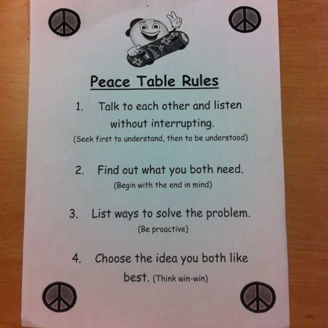 Peace Table Rules-This would be great to print and put on the inside cover of a spiral notebook that is located at the peace table.  Help students and teachers work through and document the process.