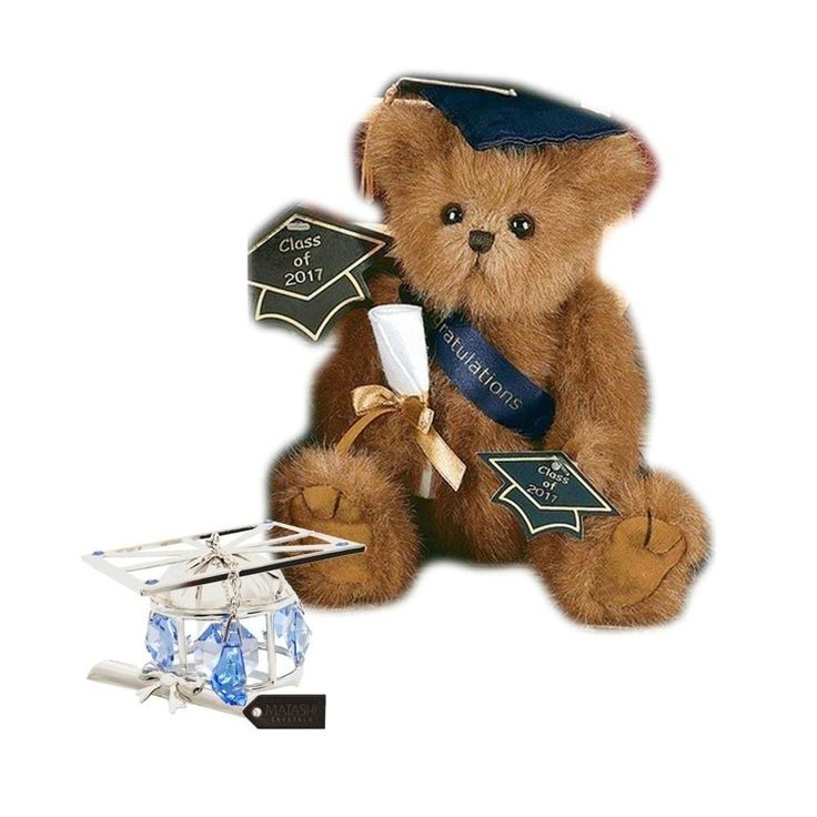 Bearington Plush Smarty 2017 Graduation Teddy Bear with Matashi Silverplated Graduation Hat Ornament with Blue Crystals (Graduation Teddy Bear with Graduation Hat Ornament), Brown (Iron)