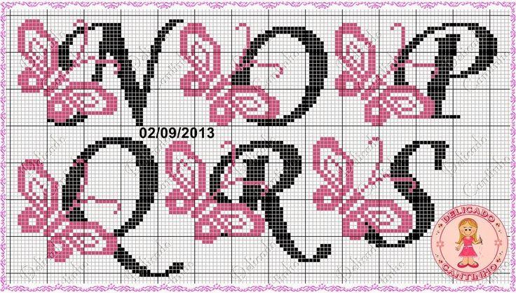 """Delicado Cantinho: Monograma """"Borboletas"""" * Alfabeto, Letra para ponto cruz (continuação 2)"""