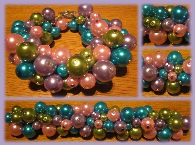 Roze-paars-groen-blauwe parel armband