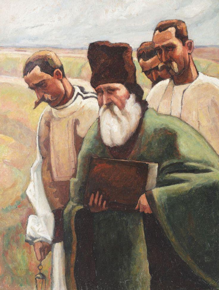 Camil Ressu, Înmormântare la ţară - 1912 ulei pe carton, 65 × 50 cm, semnat stânga jos, cu negru, C. Ressu