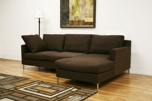 Wholesale Interiors Baxton Studio Palmyra Brown Twill Fabric Modern Sectional Sofa