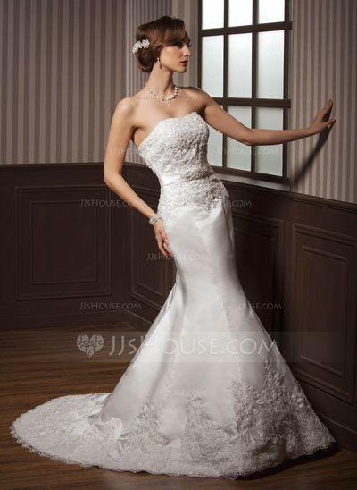 Trumpet/Mermaid Sweetheart Court Train Satin Wedding Dress With Lace Beading (002000108)