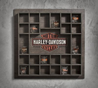 Harley Davidson themed office--Wooden Shot Glass Display Case. We've started new tradition of buying a Harley Shot Glass when we travel (and can get to a Harley store). So far we have Alb, NM and Las Vegas.