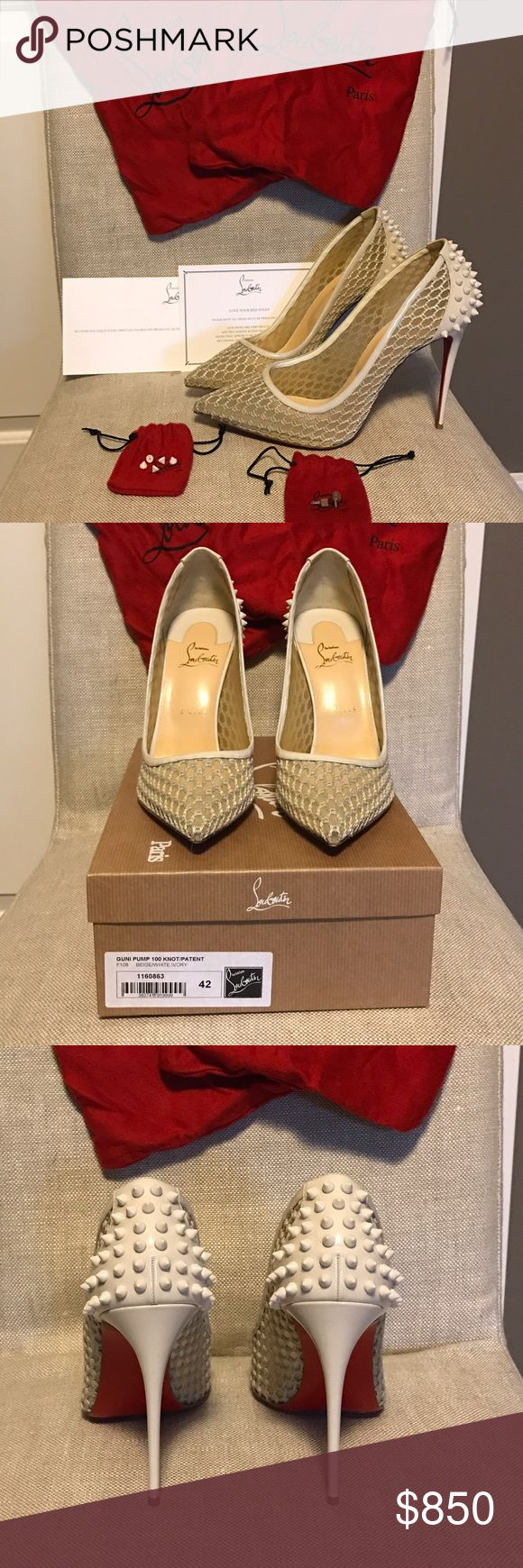Guni Pump 100 knot/patent Never worn, comes with box, extra heel stops, shoe bags and receipt.  Bought these right before I got pregnant and feet grew so they are too small, otherwise would be keeping as they are amazing shoes!  Price firm on these as they are rare and hard to find size.  These fit like a normal size 10- 10.5. Christian Louboutin Shoes Heels