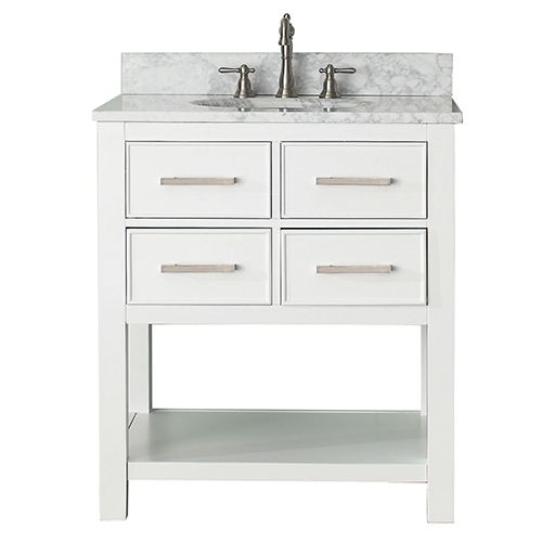 avanity brooks white 30inch vanity combo with carrera white marble top