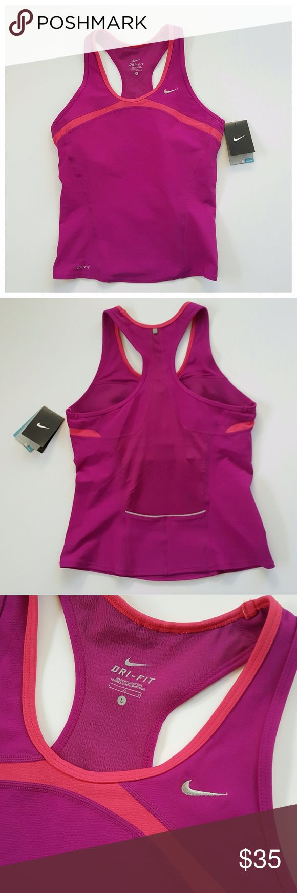 NWT NIKE Purple/ Pink Dri Fit Run Tank SIZE LARGE - CONDITION : NEW WITH TAGS  - BRAND : Nike  - COLOR : pink accent, purple body  - COMPOSITION: polyester and Spandex  - MEASUREMENT : SIZE LARGE  - DETAILS : back pocket, built in bra support Nike Tops Tank Tops