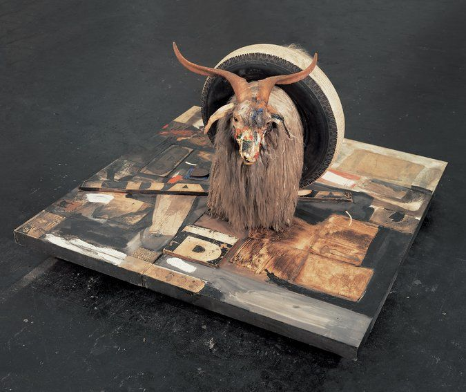 "Robert Rauschenberg's ""Monogram,"" a combine from 1955–59 whose centerpiece is a stuffed Angora goat. Credit Images from Robert Rauschenberg Foundation"