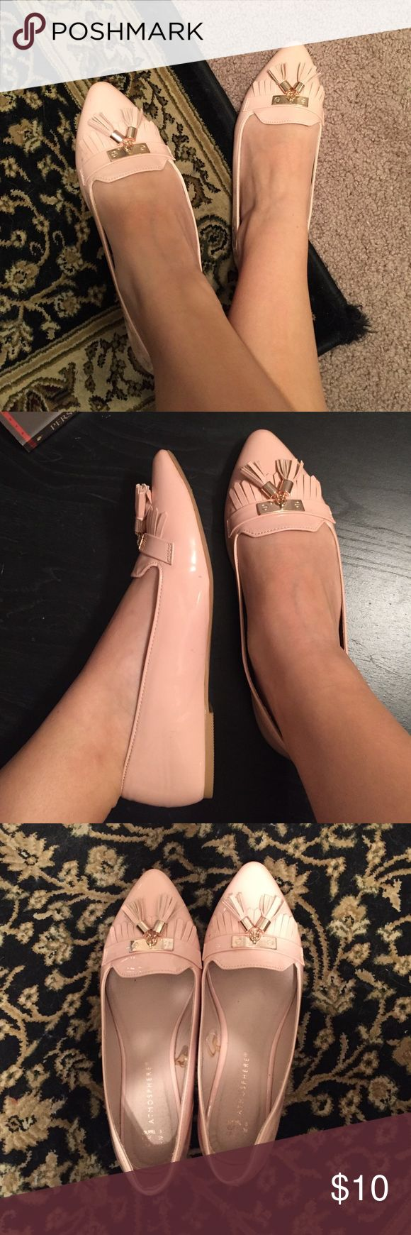 Primark Atmosphere pink pointed flats in size 7 Only been worn once! Size 7, light pink with gold accents and tassels. Also fits a size 7.5 Primark Shoes Flats & Loafers