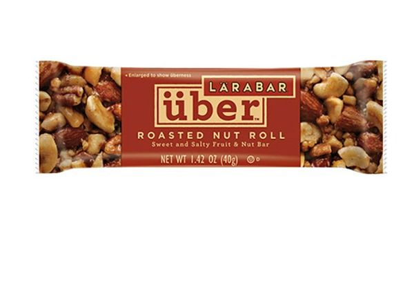 LARABAR Uber Mixed Roasted Nut Bar. Almonds, roasted cashews, peanuts, pecans and macadamia nuts are the shining stars of this snack bar while honey, dates and tapioca syrup add a hint of sweetness.