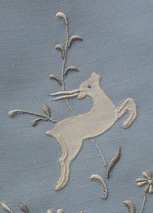 Em's Heart Antique Linens -Vintage Madeira Embroidered Linen Towel