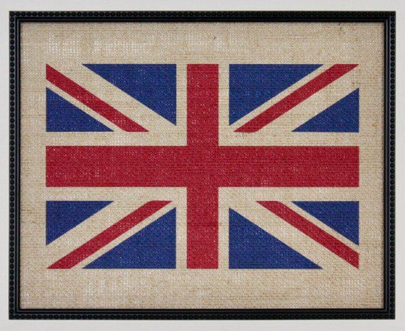 Burlap Union Jack Flag, Burlap Wall Art Burlap wall art