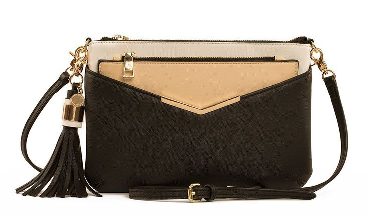 Poppy and Peonies The Crossbody Black Bag