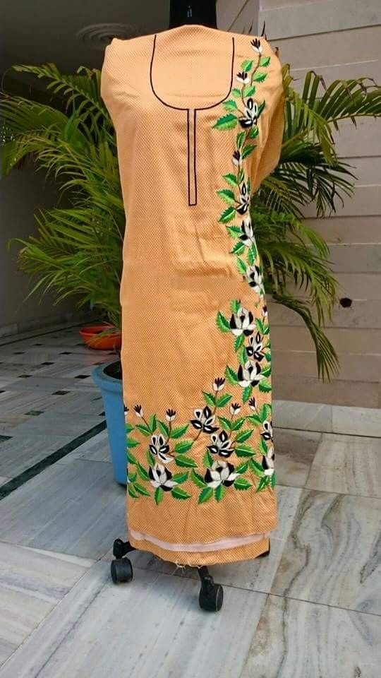 Machine Embroidered Pure Cotton Suit in Beige Color, With Pure Chinon Chiffon Dupatta