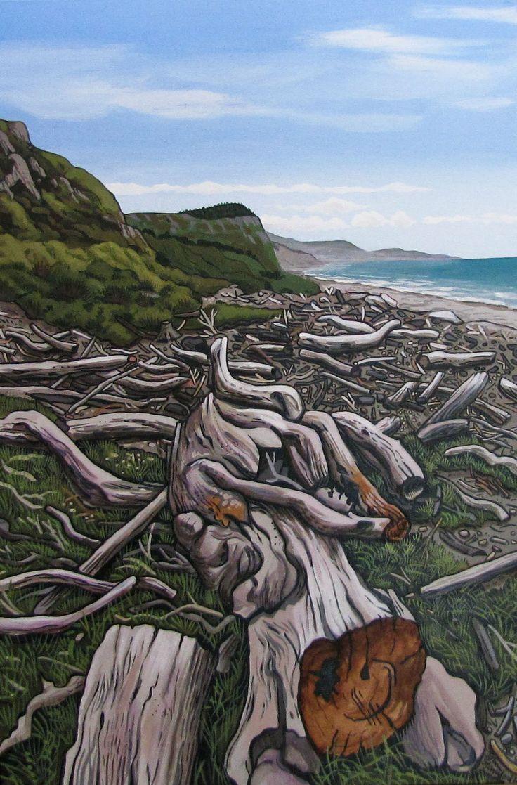 'Mohaka Beach' by New Zealand artist John Staniford (b.1947). Acrylic on canvas…