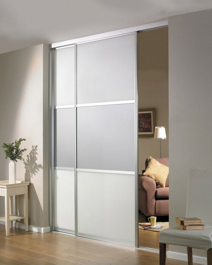 Beautiful Sliding Room Divider Design Idea In Gray With Two Panels And  Single Rail Installed In Brown Wall Paint Color