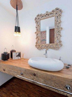 piano lavabo legno massello