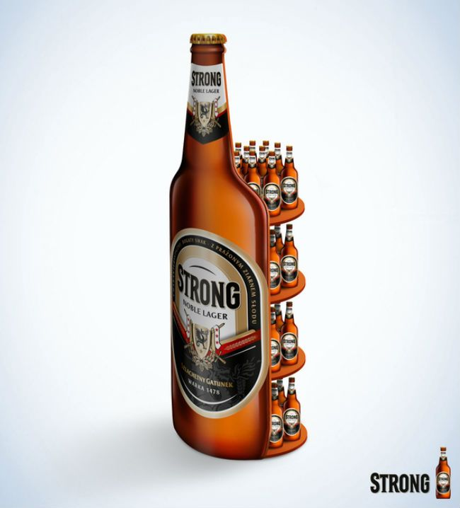 A new look of the Strong beer bottle. Promotional stand.