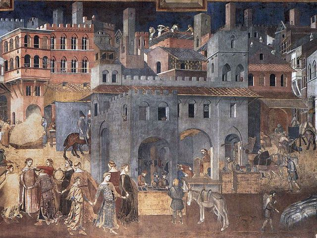 Siena (14th century) The fresco 'Effects of Good Government in the City' was painted by Ambrogio Lorenzetti in either 1338 or 1339. Scholars are not sure if this was meant to be a depiction of the Italian city of Siena or more of a metaphor for the city.