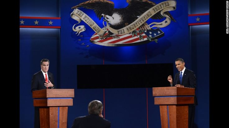 Republican presidential candidate Mitt Romney and Obama participate in the first presidential debate of the 2012 election in Denver, Colorado, in October 2012.