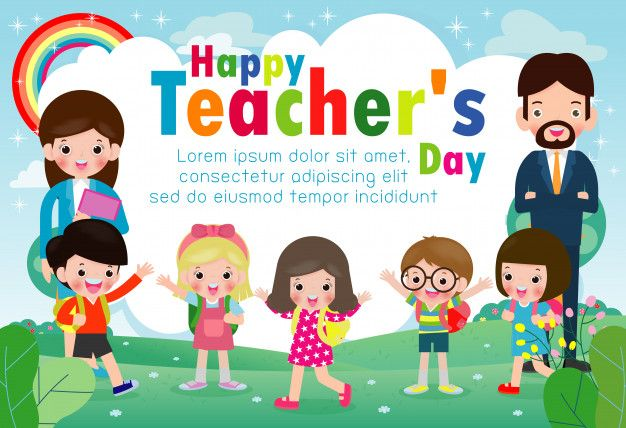 Happy Teachers Day The Girl Give Flowers Children The Girl Teachers Day Png And Vector With Tra Happy Teachers Day Card Happy Teachers Day Teachers Day Card