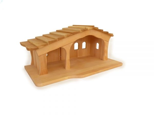 Weihnachts-Krippe mit Schindeln / Natur-Holz-Krippenstall 2442