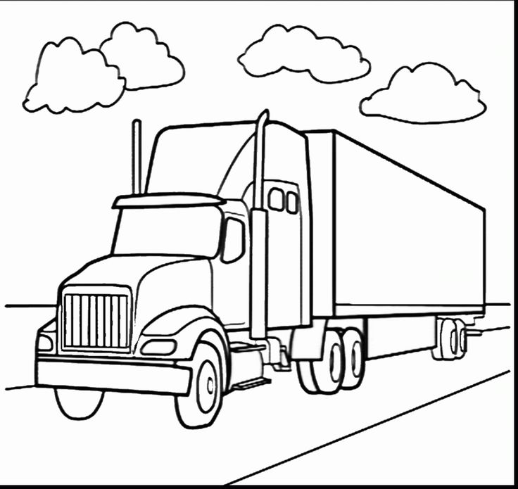 Beauteous Semi Truck Coloring Pages Refundable With