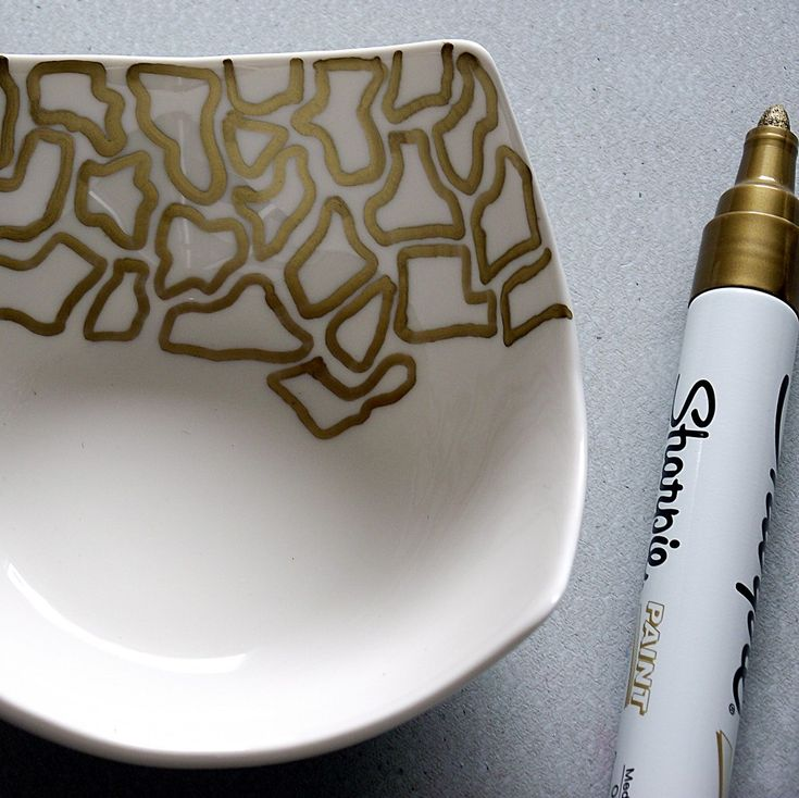 gold sharpie and bowl I am now picturing Cheetah print or colorful zebra