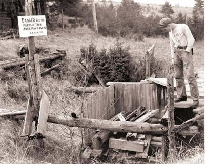 OAK ISLAND | This 1938 photo shows one of the treasure dig pits on Oak Island, N.S. A group is using technology on the island to locate secret underground tunnels that may lead to fabled pirate's treasure | Credit: Archives of Nova Scotia