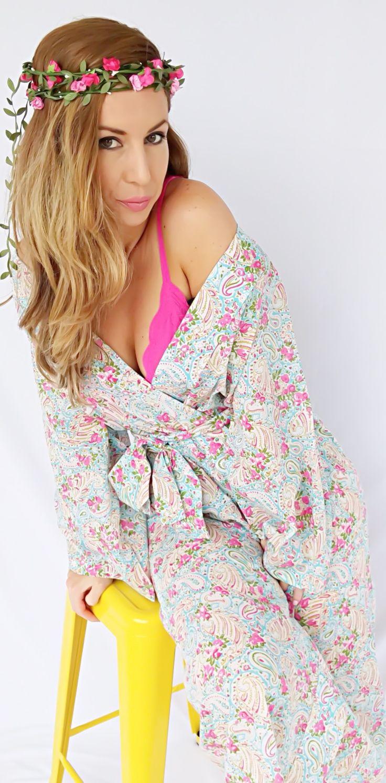 Ivy & Matilda Cotton voile kimono robe' #kimonorobe #bridalrobe #bridesmaidsrobe