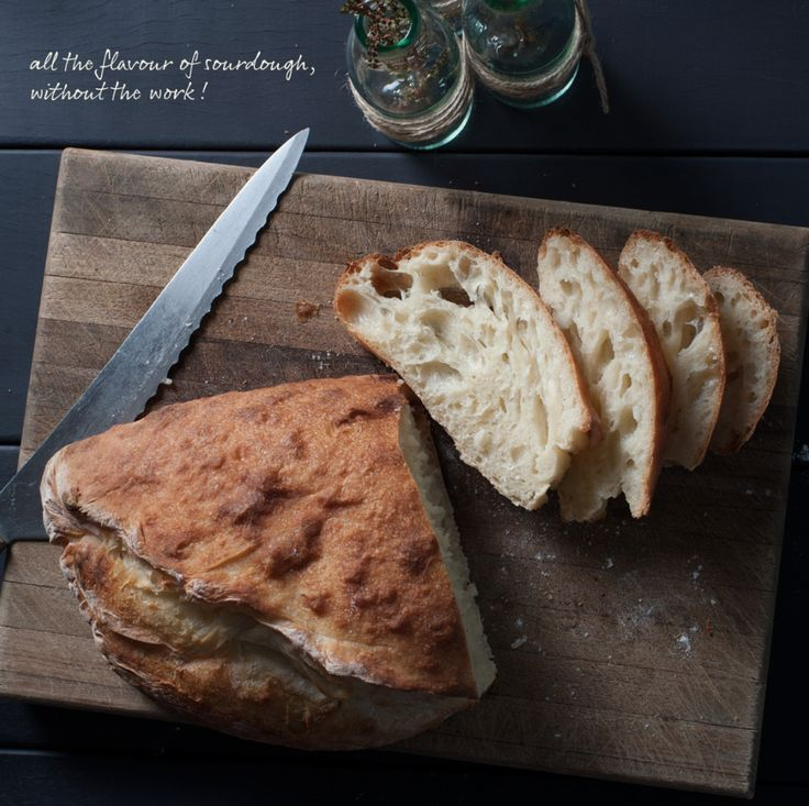 This bread recipe is an extremely easy way to make a 'cheats' sourdough. It looks, smells and tastes like a sourdough, but is actually fermented overnight using just a pinch of yeast. No start culture required!Click hereto watch the tutorial. This recipe can also be found in our new book, Quick Fi