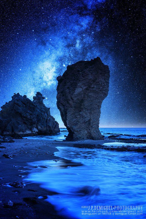 Milky Way - Manaca rock beach, Mojacar, Andalucia, Spain
