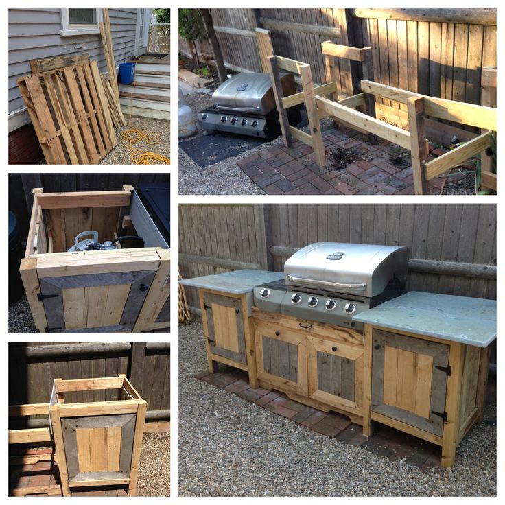 Outdoor kitchen made from pallets and upcycled bluestone. Total cost: $15 for handles, hinges, and stainless screws! Even the grill is recycled--it used to be on a traditional base.