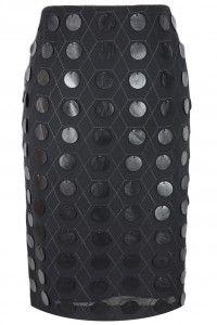 Sisel spódnica kołka skórka czarna