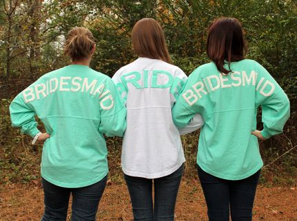 Bridesmaid's Spirit Football Jersey with Circle Monogram. Good bridesmaid gift as well as super cuuuute!