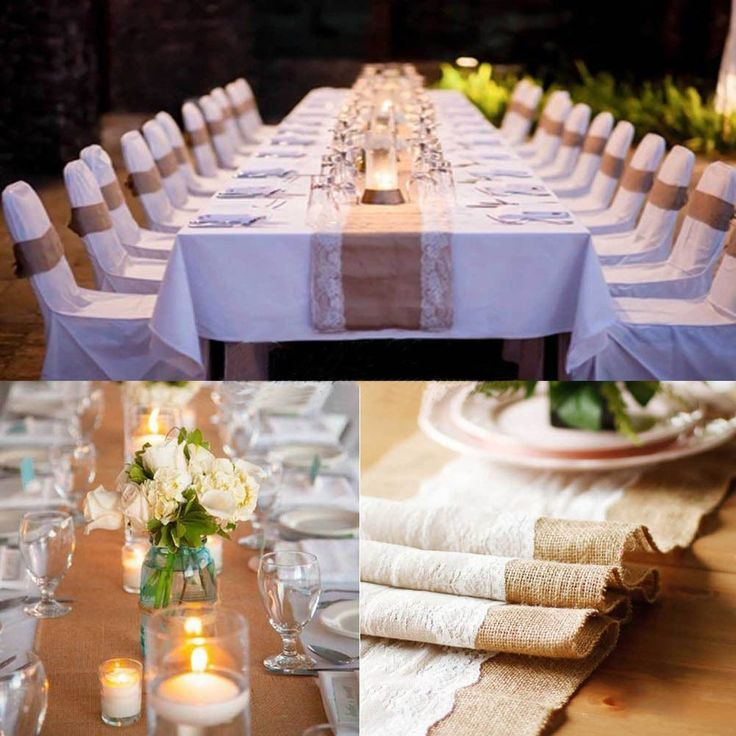 PsmGoods® Rustic Burlap Spitze Hessischen Tischläufer Natürliche Jute für Hochzeit Festival-Ereignis Tischdekoration 30x108cm-weiße Spitze: Amazon.de: Küche & Haushalt