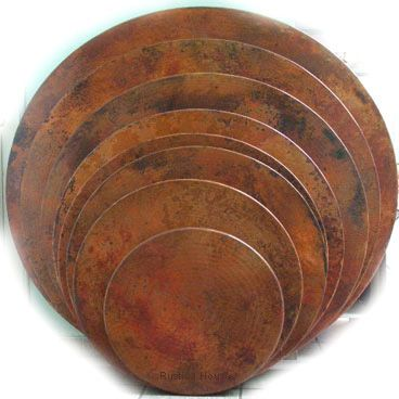 "Round copper table-tops are hammered and made in various sizes from 16"" diameter to 72"". #myrustica #coppertable #coppertabletop"