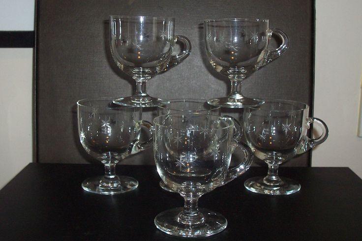 Victorian star cut custard cups