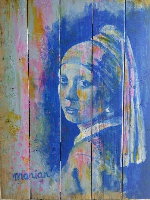 Meisje met de parel Acryl op hout. Geschilderd door Marian Plomp