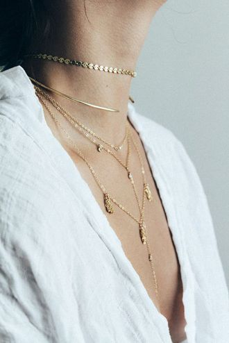 $45 Minimalist Simple Elegant Chic Gold Jewellery Accessory Necklace Set Layered Thin Gold Chains And Choker