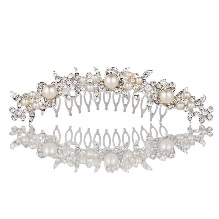 Горный хрусталь кристаллы чистая цветов волос гребень для свадебных женщин изделия аксессуары для волос люкс гребенькупить в магазине Five Star Outlet наAliExpress