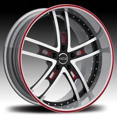 red black 20 rims | MOZ Wheels Rims Bronze 19 20 22 24 inch White Red Detail Face Black ...