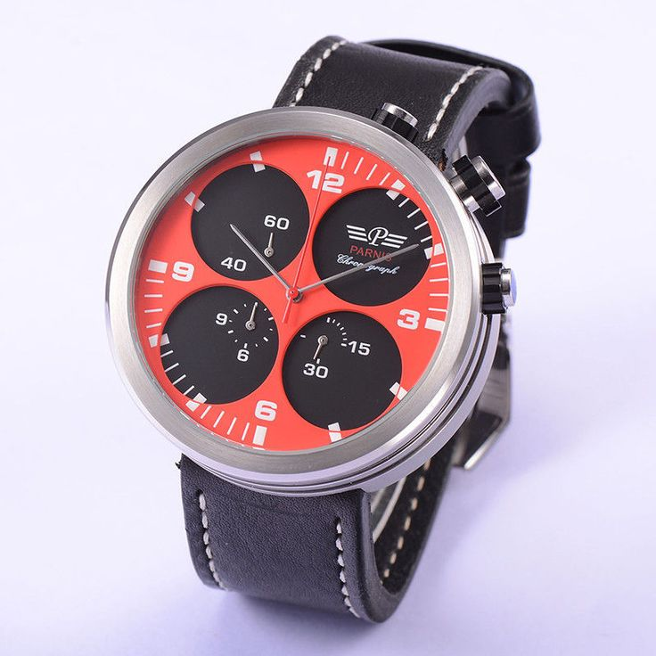 48mm Parnis Japan Quartz Movement Chronograph Men's Watch Black Leather Strap #Parnis #Sport