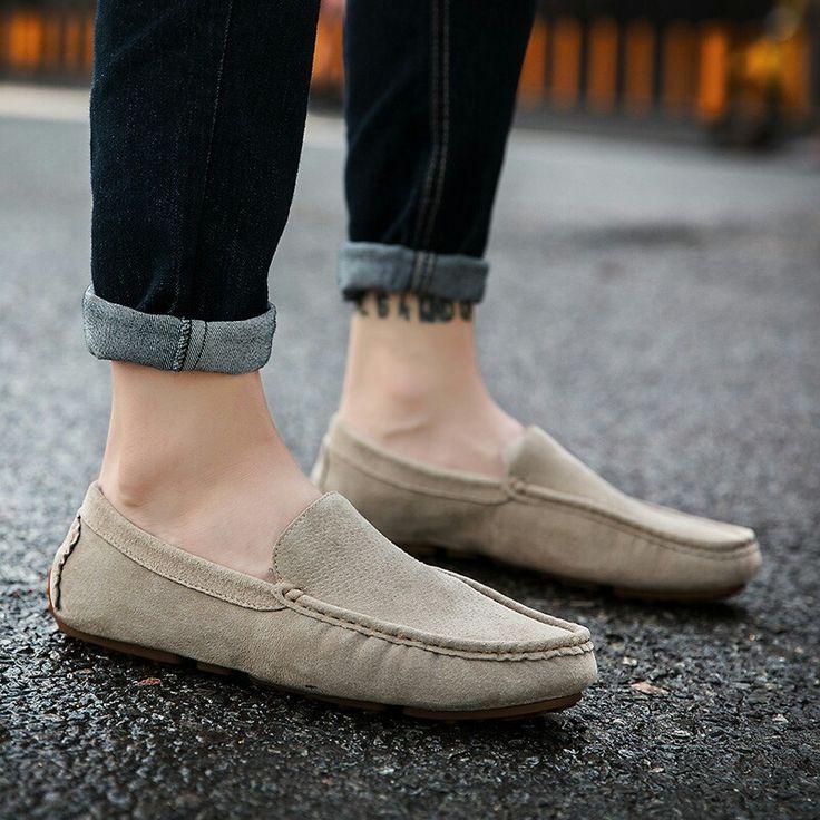 >> Compre aqui<< Prelesty Outono Inverno Quente de Couro & Pele Do Vintage Genuíno Couro Macio Loafers para Homens Deslizar Sobre Mocassins Apartamentos Sapatos de Barco