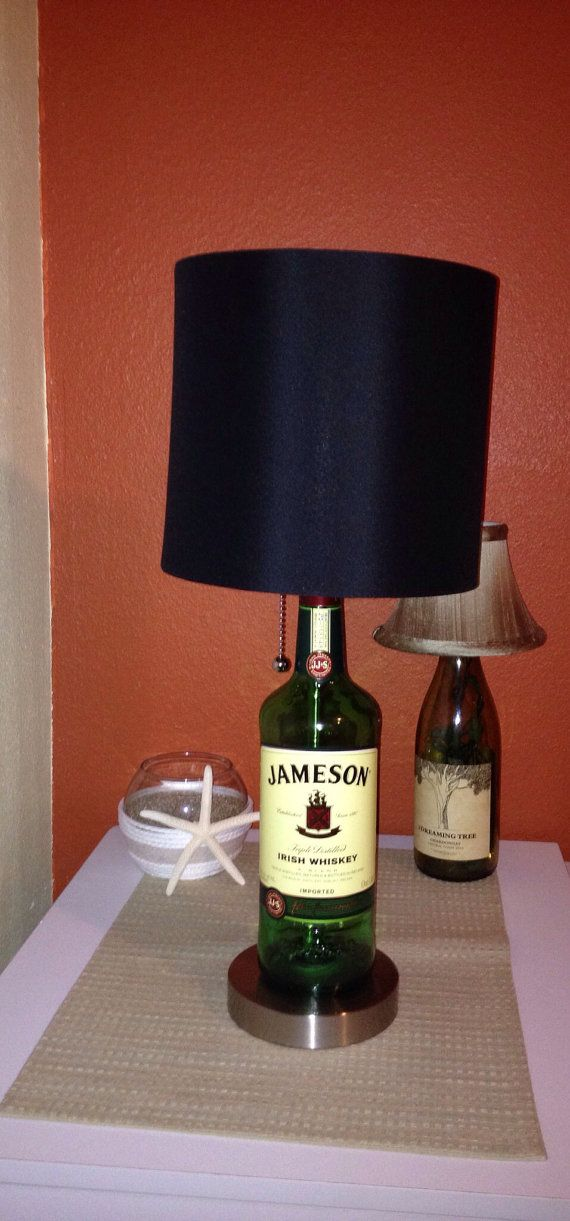 Jameson Liquor Bottle Lamp with Brushed Silver Base by ThatsBadAss, $49.99