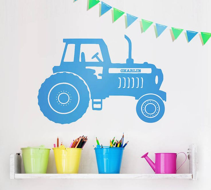 Tractors are loved by big kids and little kids alike and now they can have their very own on their bedroom wall!Available in a selection of colours, please see the relevant image for the colour choices, and select your colour choice from the option menu above. Comes in a choice of six sizes; small, medium, large. See below for dimensions.Personalise the tractor with your child's name and choose from a large selection of colours and sizes. Wall stickers are a simple and creative way to give…