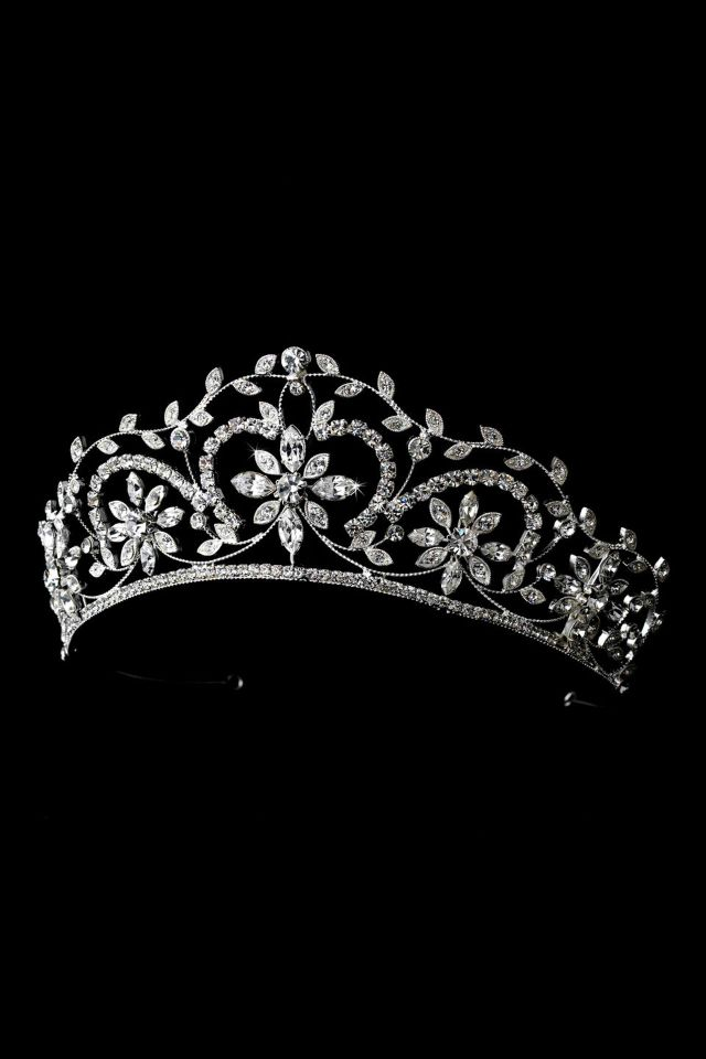 Stunning Silver Clear Crystal Floral Bridal Tiara 9828 Headpiece